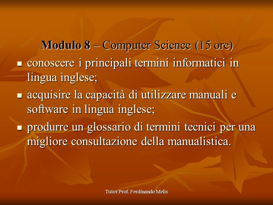 Modulo 8 – Computer Science (15 ore)