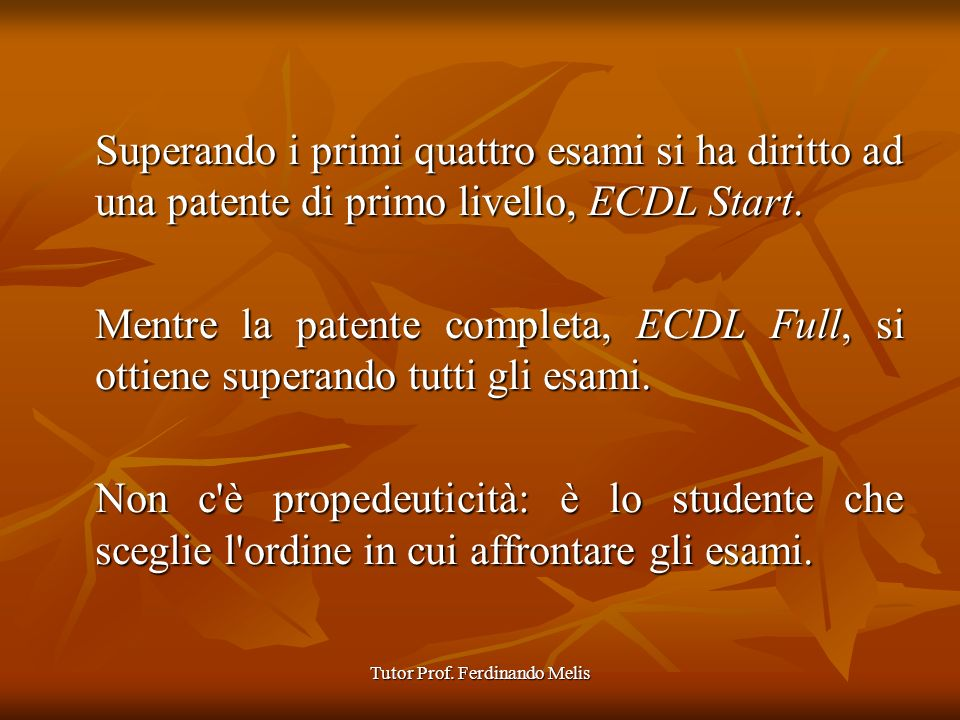 Tutor Prof. Ferdinando Melis