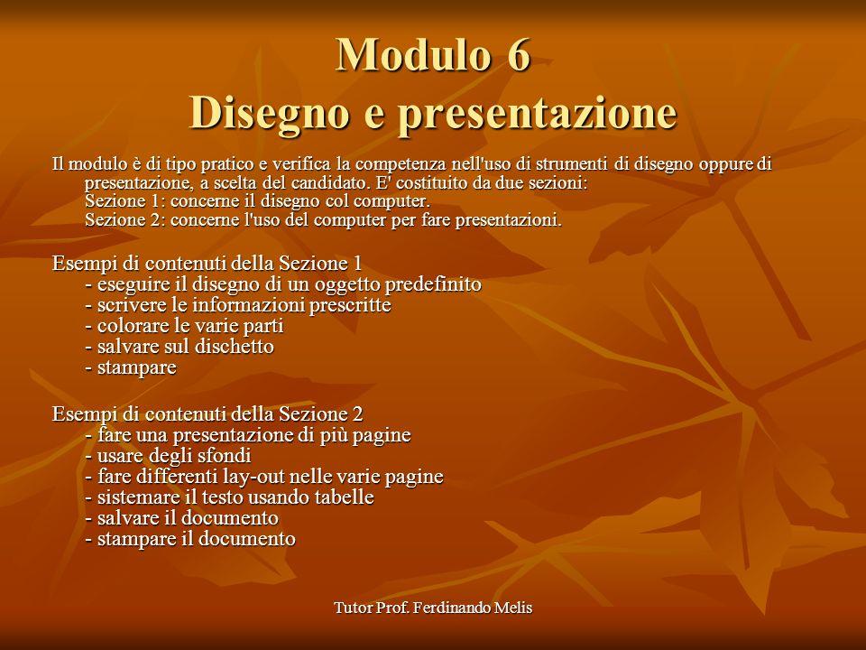 Modulo 6 Disegno e presentazione
