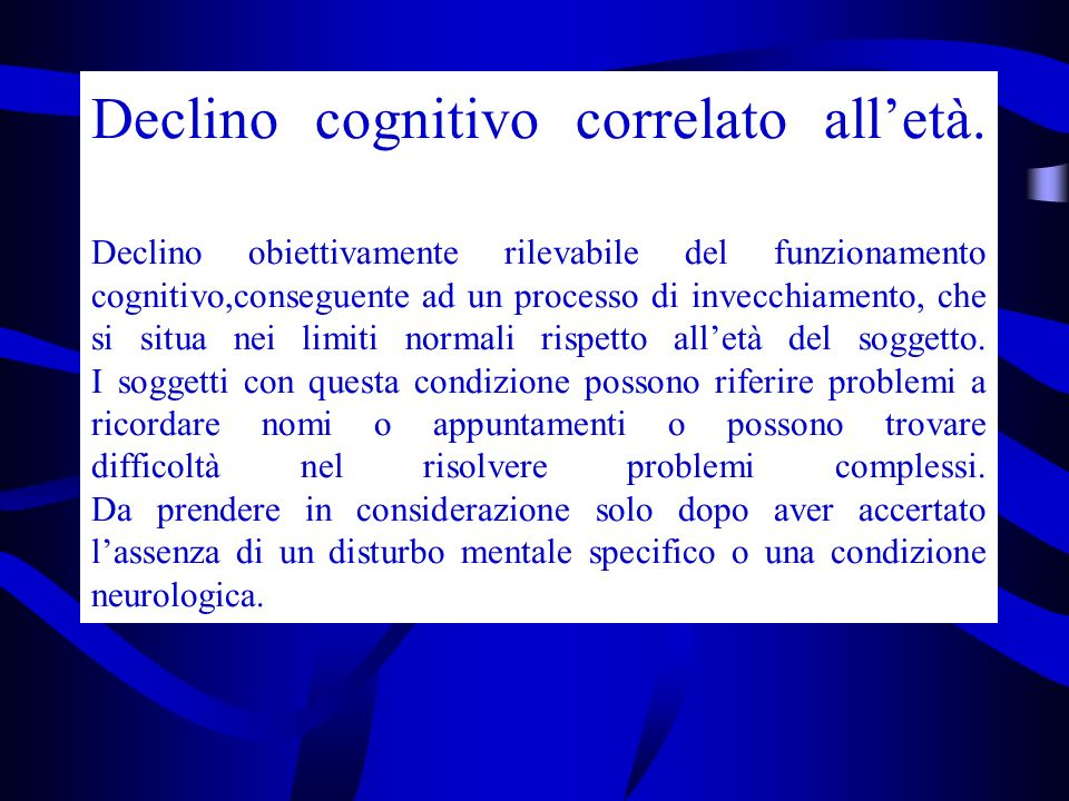 Declino cognitivo correlato all'età