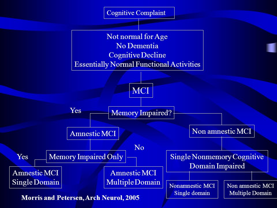MCI Not normal for Age No Dementia Cognitive Decline
