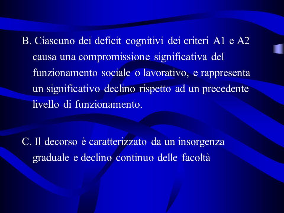 B. Ciascuno dei deficit cognitivi dei criteri A1 e A2 causa una compromissione significativa del funzionamento sociale o lavorativo, e rappresenta un significativo declino rispetto ad un precedente livello di funzionamento.