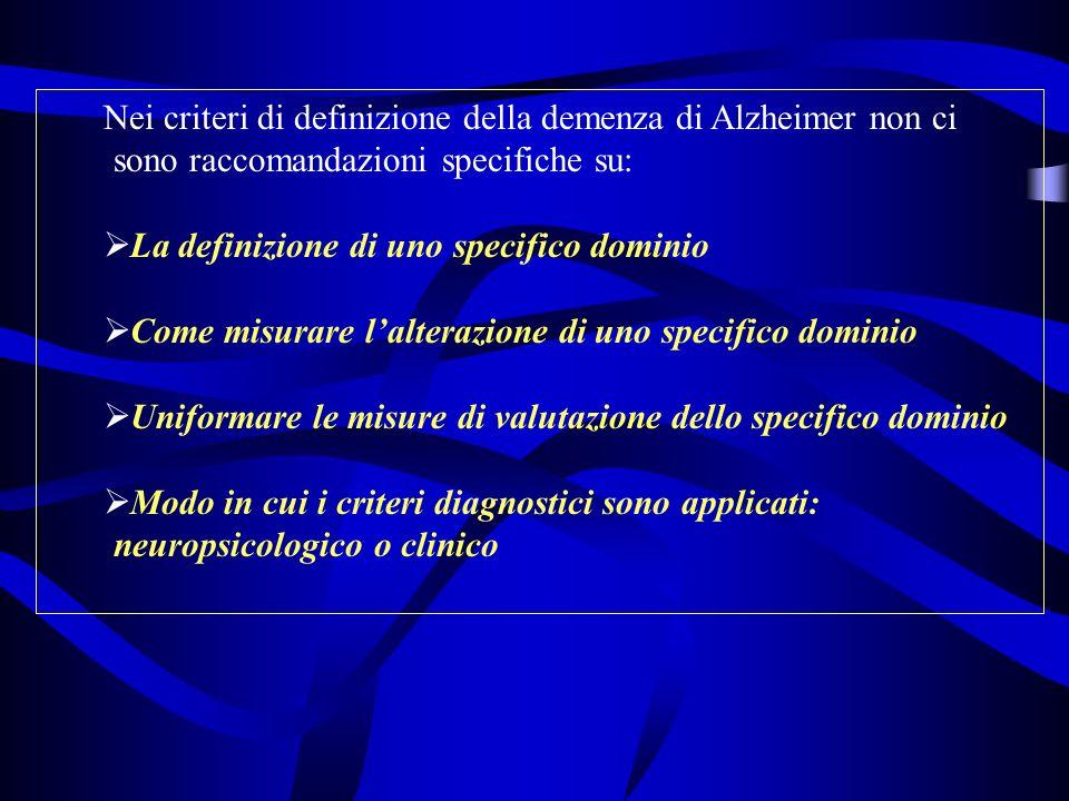 Nei criteri di definizione della demenza di Alzheimer non ci sono raccomandazioni specifiche su: