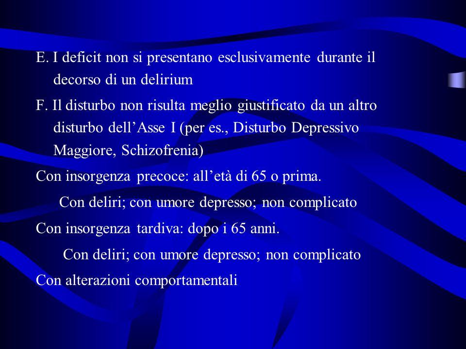 E. I deficit non si presentano esclusivamente durante il decorso di un delirium