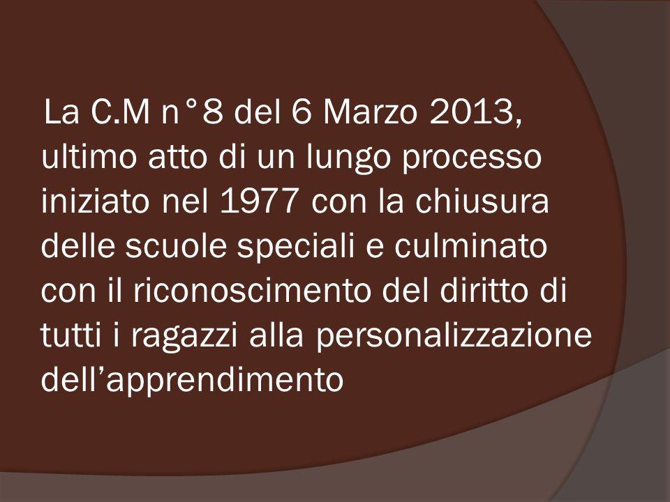 La C.M n°8 del 6 Marzo 2013, ultimo atto di un lungo processo iniziato nel 1977 con la chiusura delle scuole speciali e culminato con il riconoscimento del diritto di tutti i ragazzi alla personalizzazione dell'apprendimento