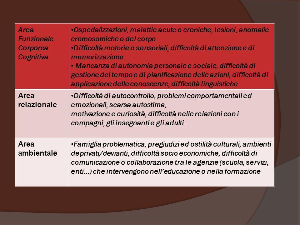 Area Funzionale. Corporea. Cognitiva. Ospedalizzazioni, malattie acute o croniche, lesioni, anomalie cromosomiche o del corpo.