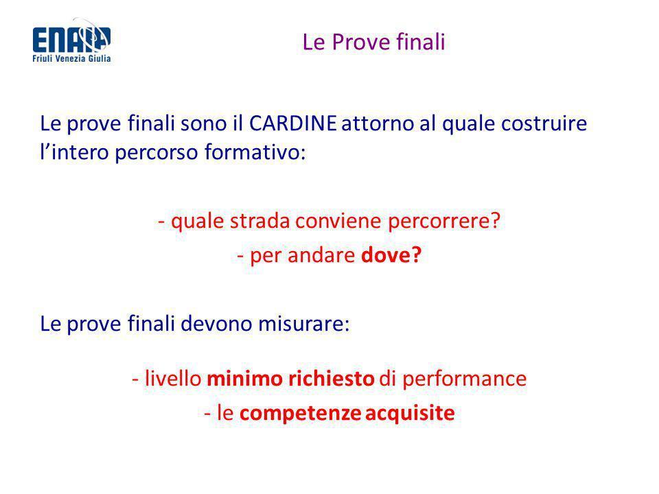 Le Prove finali Le prove finali sono il CARDINE attorno al quale costruire l'intero percorso formativo: