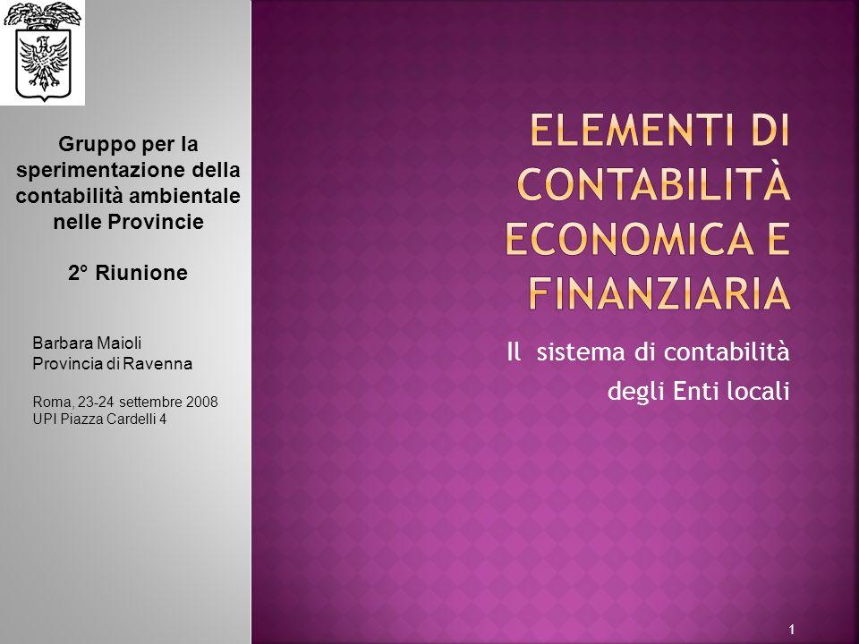 ELEMENTI DI Contabilità economica e finanziaria