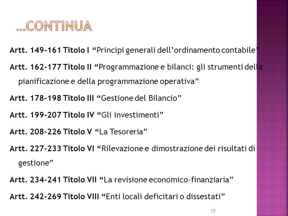 …continua Artt. 149-161 Titolo I Principi generali dell'ordinamento contabile
