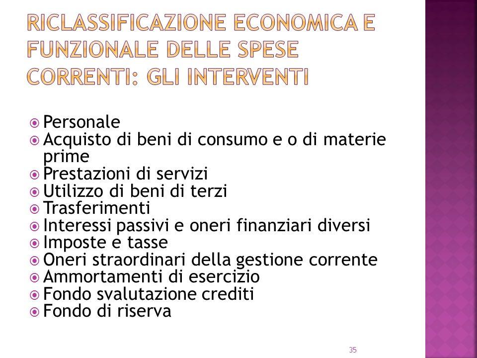 Riclassificazione economica e funzionale delle spese correnti: gli interventi