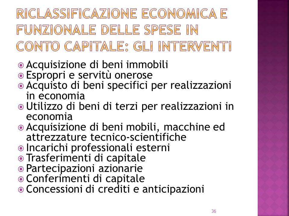 Riclassificazione economica e funzionale delle spese in conto capitale: gli interventi