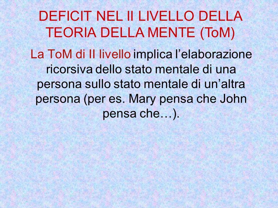 DEFICIT NEL II LIVELLO DELLA TEORIA DELLA MENTE (ToM)