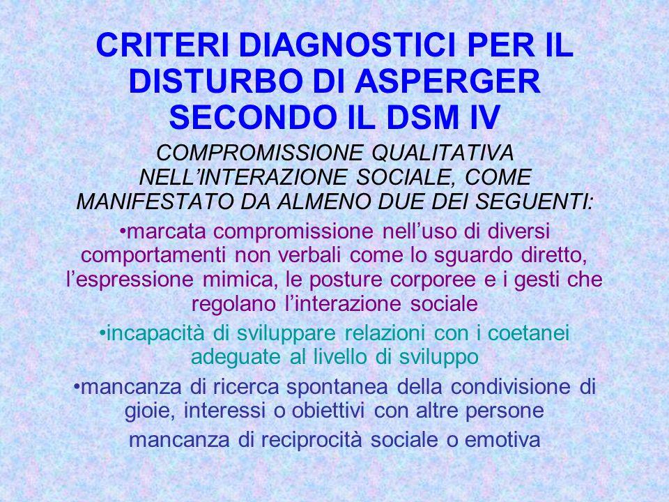 CRITERI DIAGNOSTICI PER IL DISTURBO DI ASPERGER SECONDO IL DSM IV