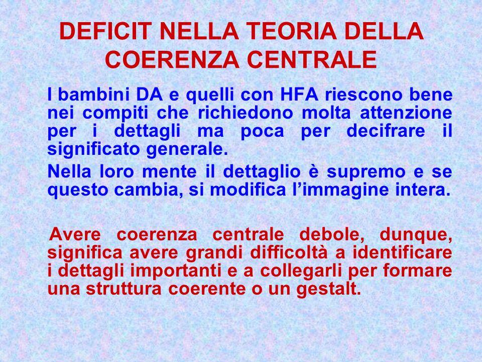 DEFICIT NELLA TEORIA DELLA COERENZA CENTRALE