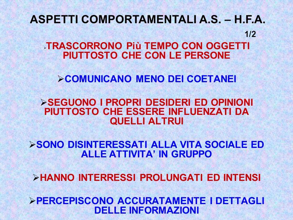 ASPETTI COMPORTAMENTALI A.S. – H.F.A. 1/2