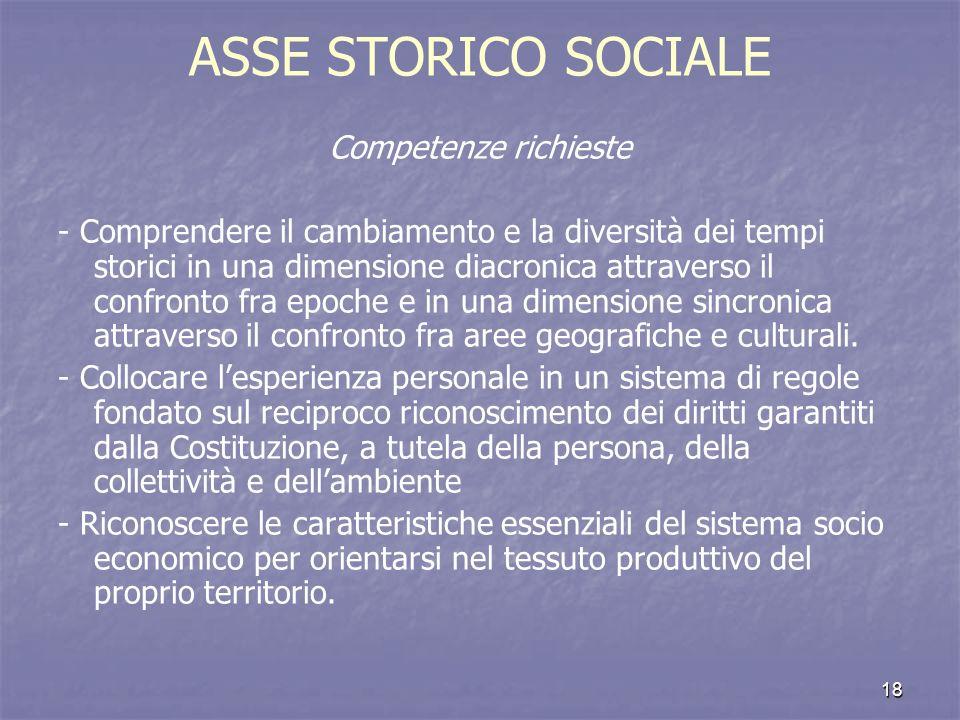 ASSE STORICO SOCIALE Competenze richieste