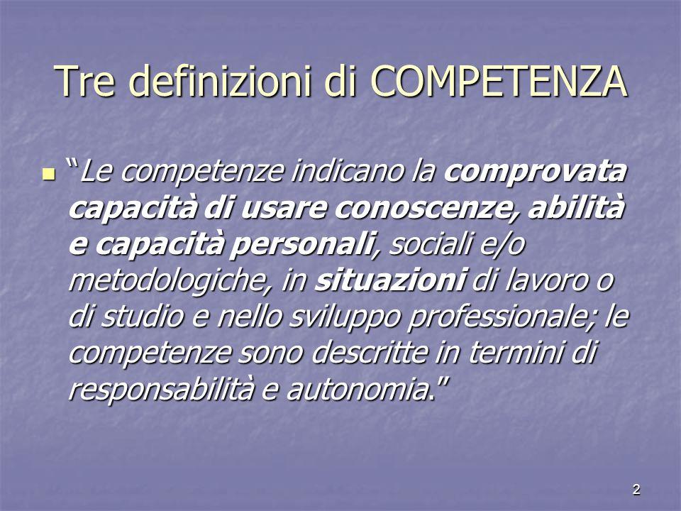 Tre definizioni di COMPETENZA