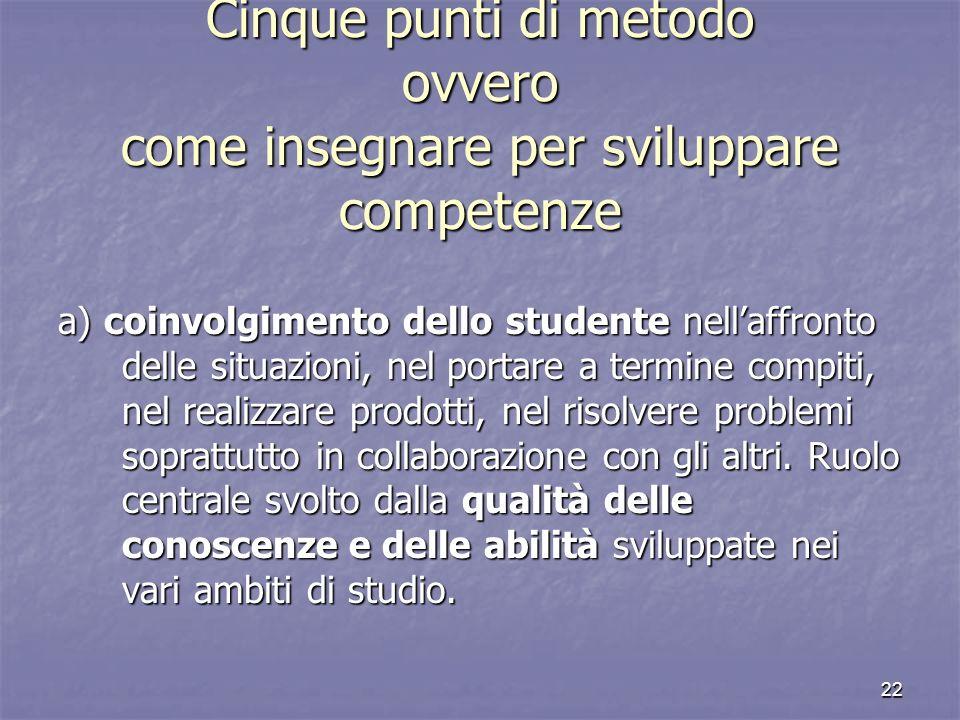 Cinque punti di metodo ovvero come insegnare per sviluppare competenze