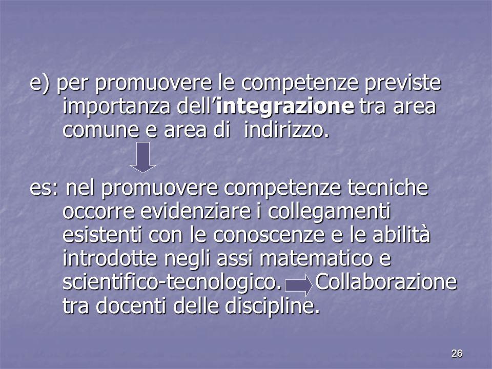 e) per promuovere le competenze previste importanza dell'integrazione tra area comune e area di indirizzo.