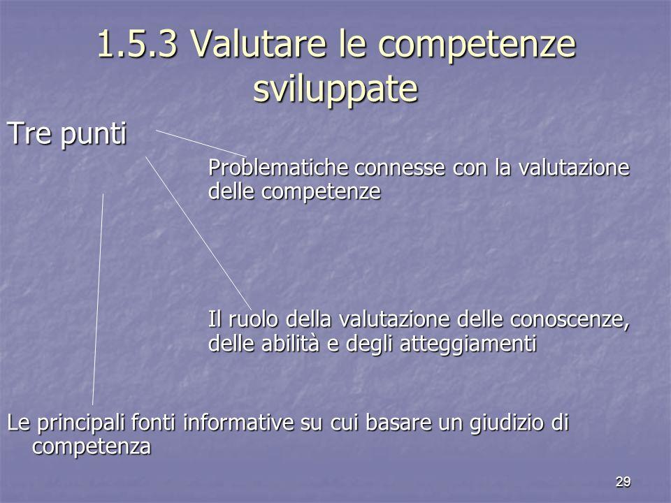 1.5.3 Valutare le competenze sviluppate