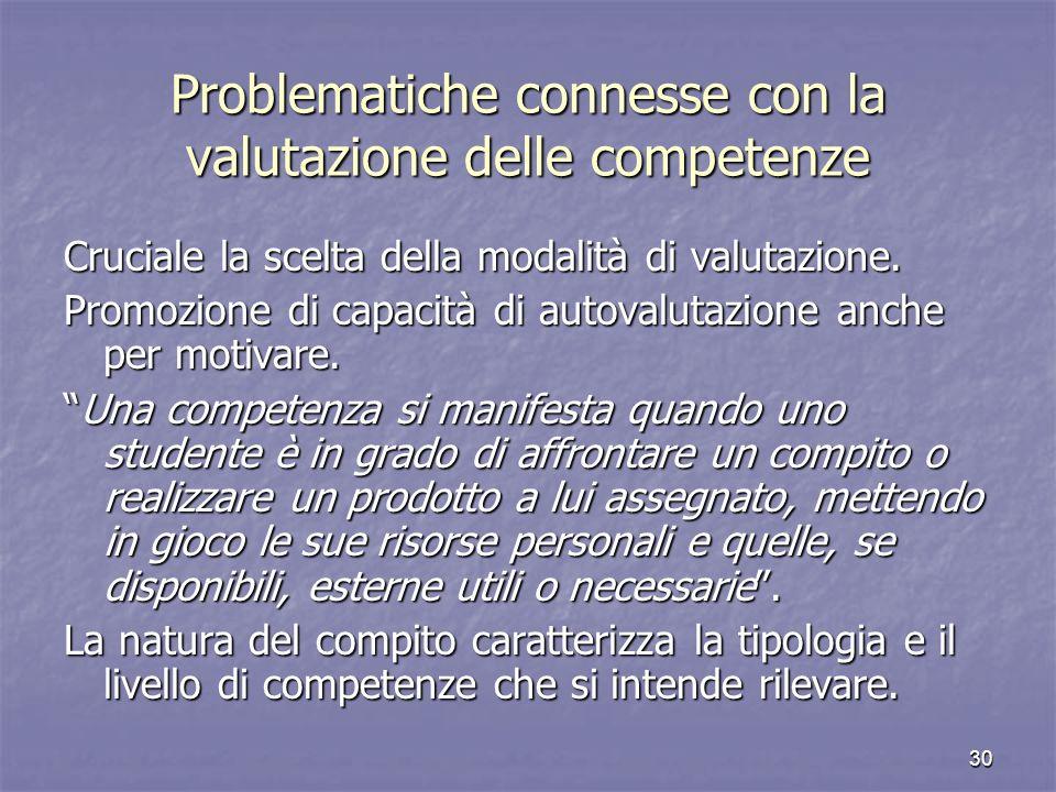 Problematiche connesse con la valutazione delle competenze