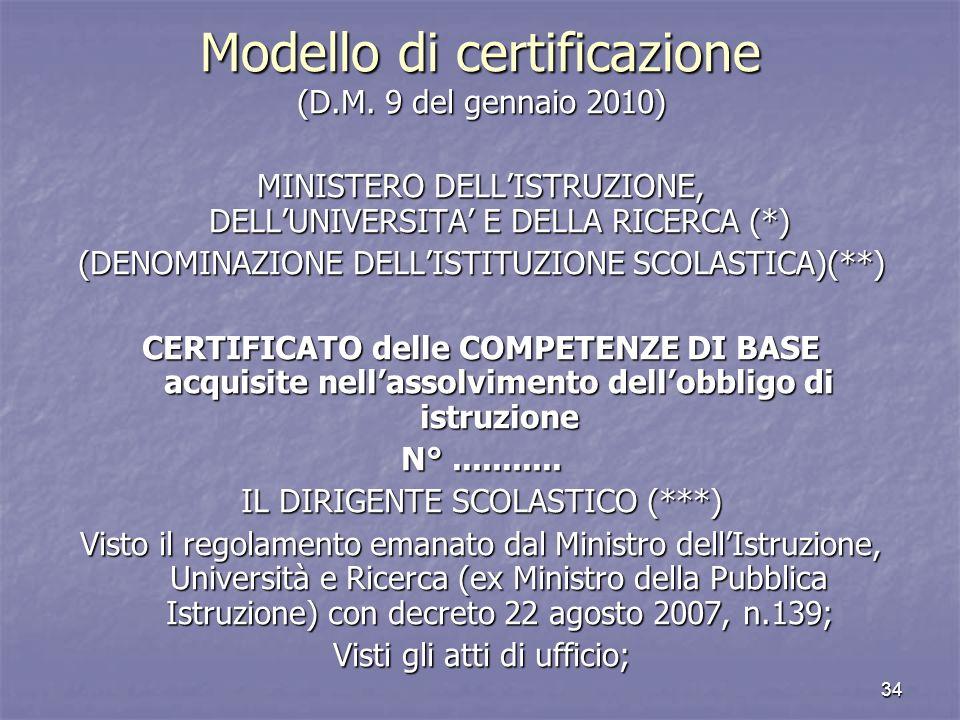 Modello di certificazione