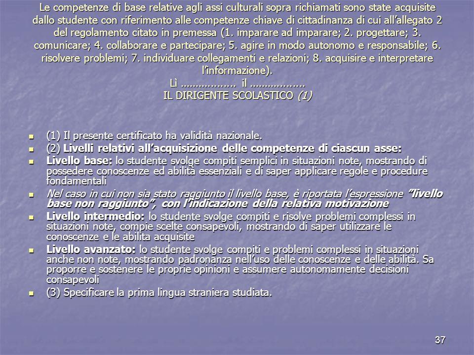 Le competenze di base relative agli assi culturali sopra richiamati sono state acquisite dallo studente con riferimento alle competenze chiave di cittadinanza di cui all'allegato 2 del regolamento citato in premessa (1. imparare ad imparare; 2. progettare; 3. comunicare; 4. collaborare e partecipare; 5. agire in modo autonomo e responsabile; 6. risolvere problemi; 7. individuare collegamenti e relazioni; 8. acquisire e interpretare l'informazione). Lì .................. il .................. IL DIRIGENTE SCOLASTICO (1)