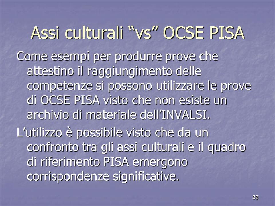 Assi culturali vs OCSE PISA