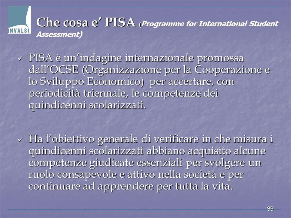 Che cosa e' PISA (Programme for International Student Assessment)