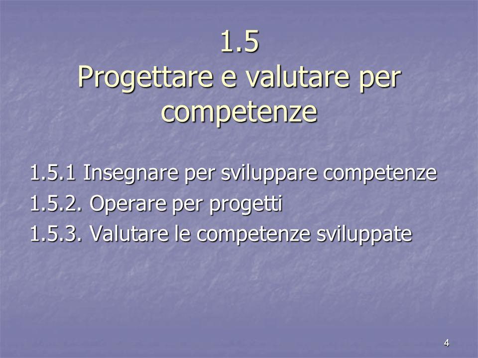 1.5 Progettare e valutare per competenze