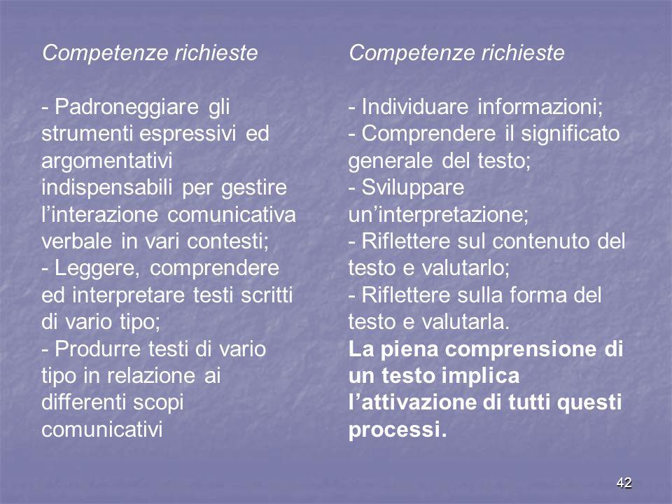 Competenze richieste - Padroneggiare gli strumenti espressivi ed argomentativi indispensabili per gestire l'interazione comunicativa.