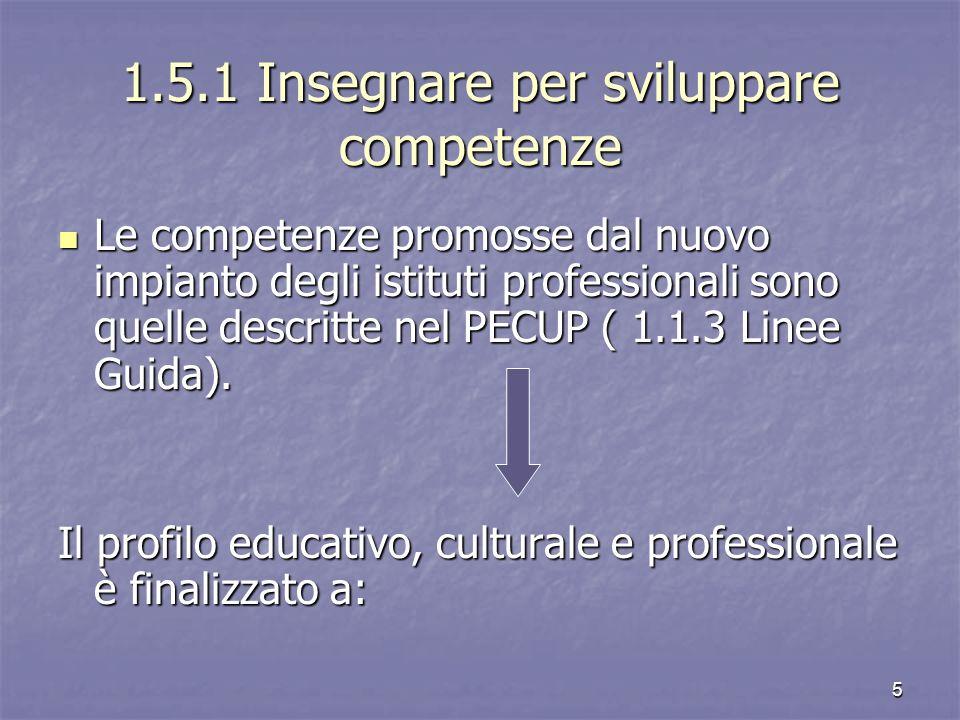 1.5.1 Insegnare per sviluppare competenze