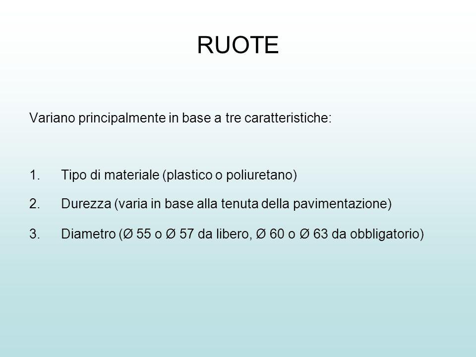RUOTE Variano principalmente in base a tre caratteristiche: