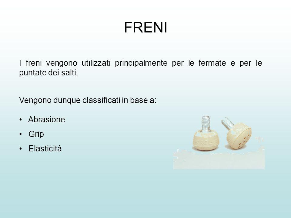 FRENI I freni vengono utilizzati principalmente per le fermate e per le puntate dei salti. Vengono dunque classificati in base a:
