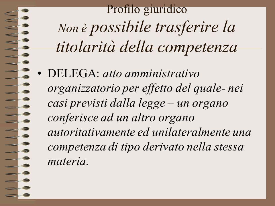 Profilo giuridico Non è possibile trasferire la titolarità della competenza
