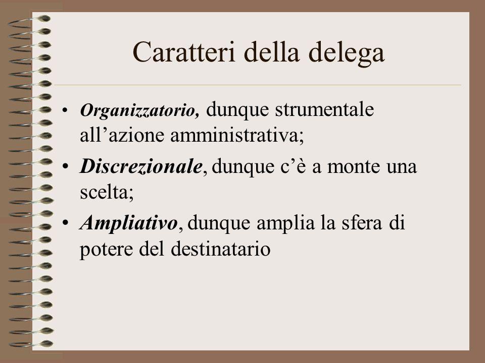 Caratteri della delega