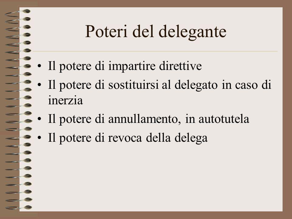 Poteri del delegante Il potere di impartire direttive