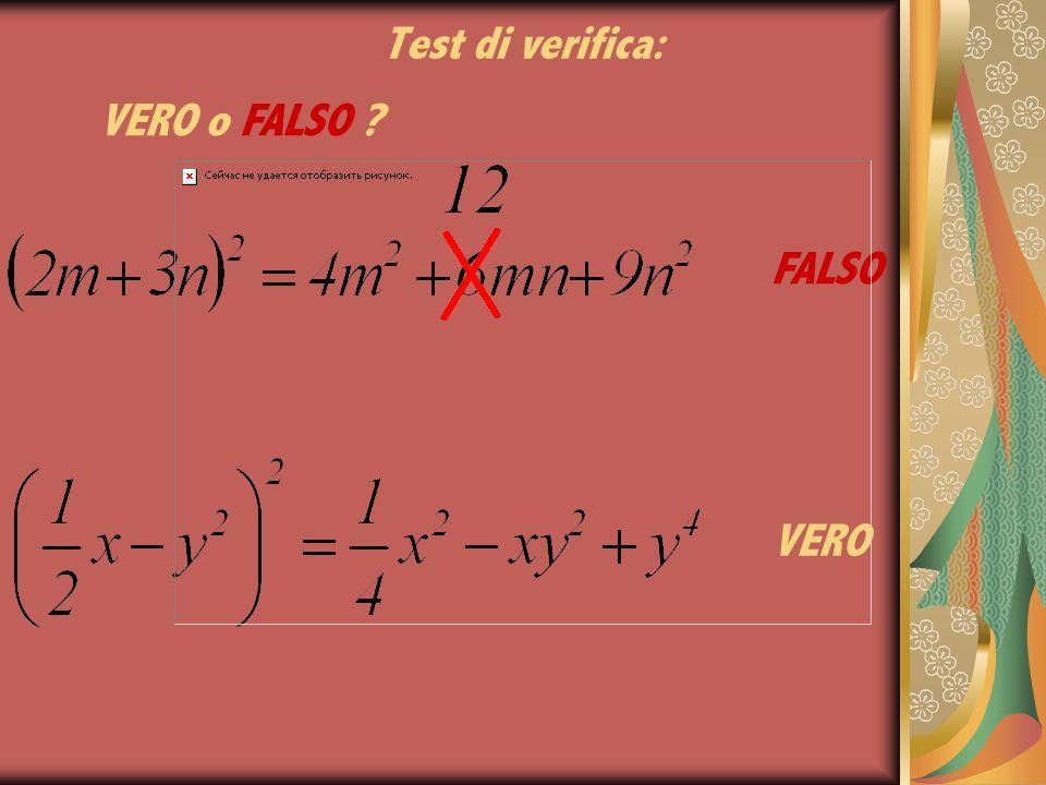 Test di verifica: VERO o FALSO FALSO VERO