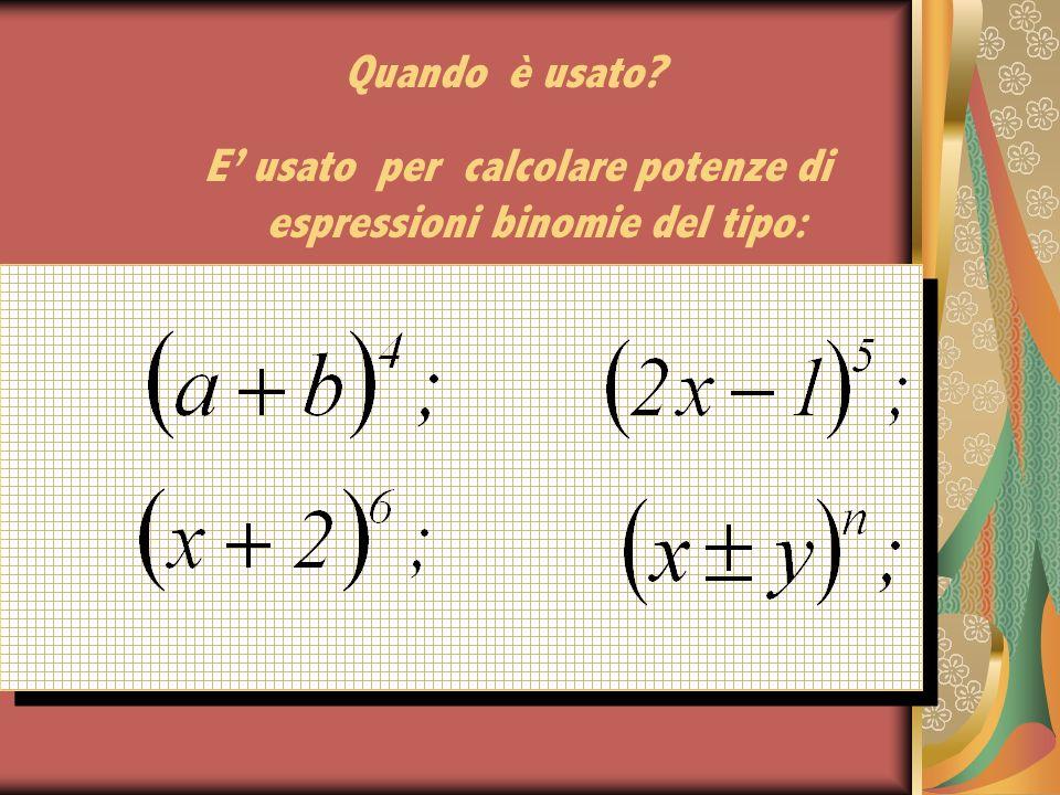 E' usato per calcolare potenze di espressioni binomie del tipo: