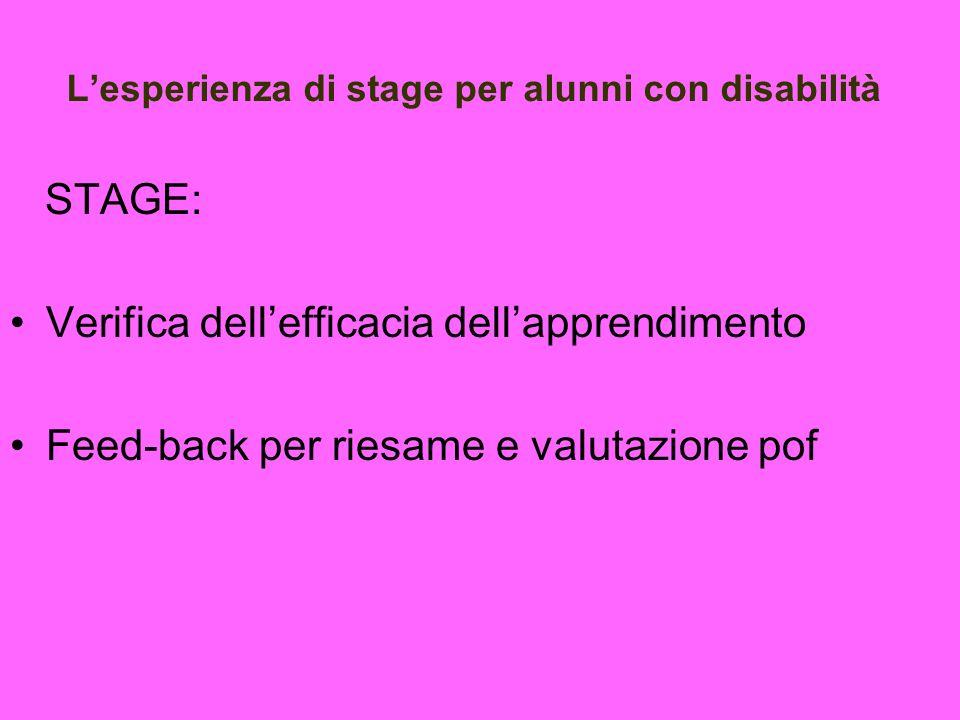 L'esperienza di stage per alunni con disabilità
