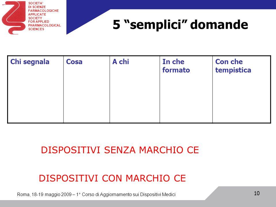 5 semplici domande DISPOSITIVI SENZA MARCHIO CE