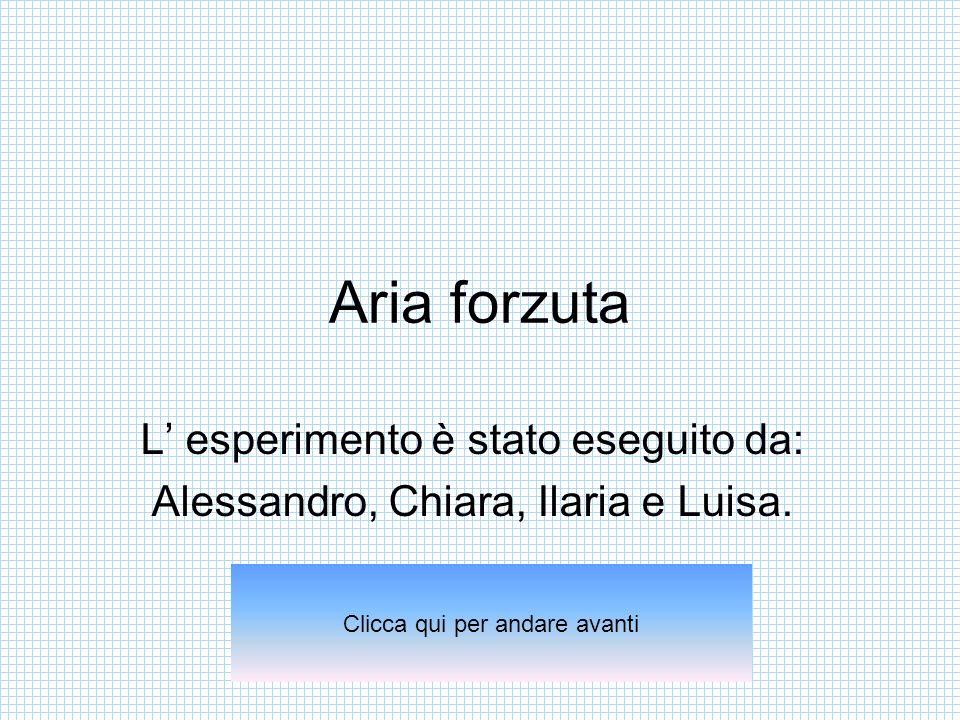 Aria forzuta L' esperimento è stato eseguito da: