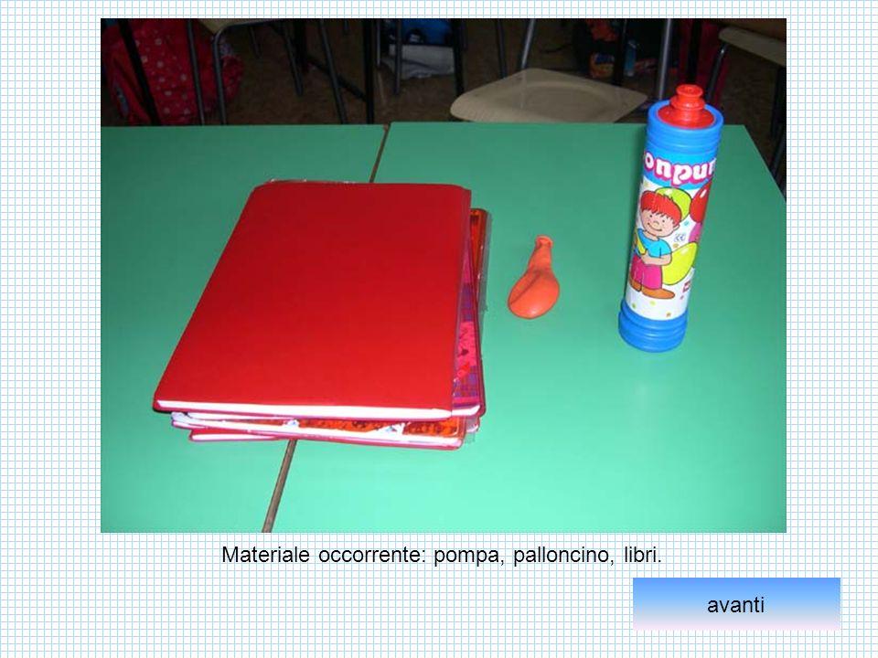 Materiale occorrente: pompa, palloncino, libri.
