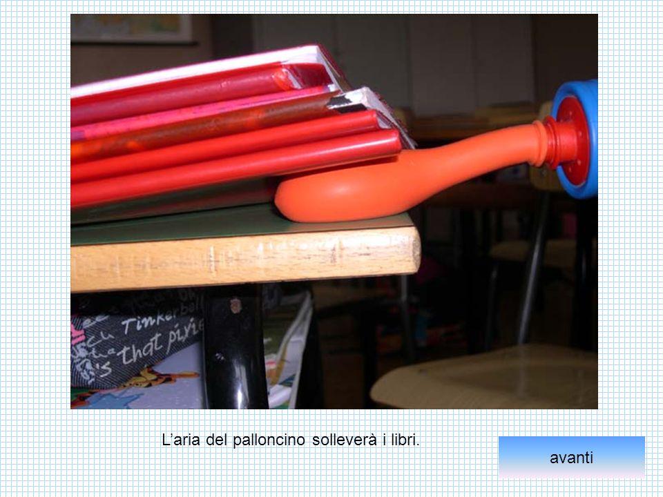 L'aria del palloncino solleverà i libri.