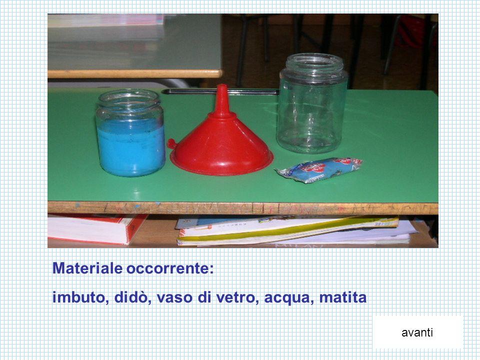 Materiale occorrente: imbuto, didò, vaso di vetro, acqua, matita