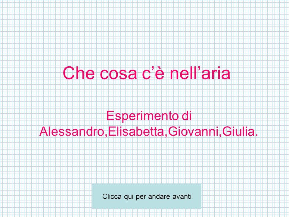 Esperimento di Alessandro,Elisabetta,Giovanni,Giulia.