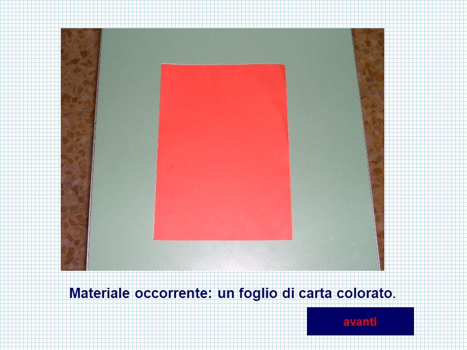 Materiale occorrente: un foglio di carta colorato.