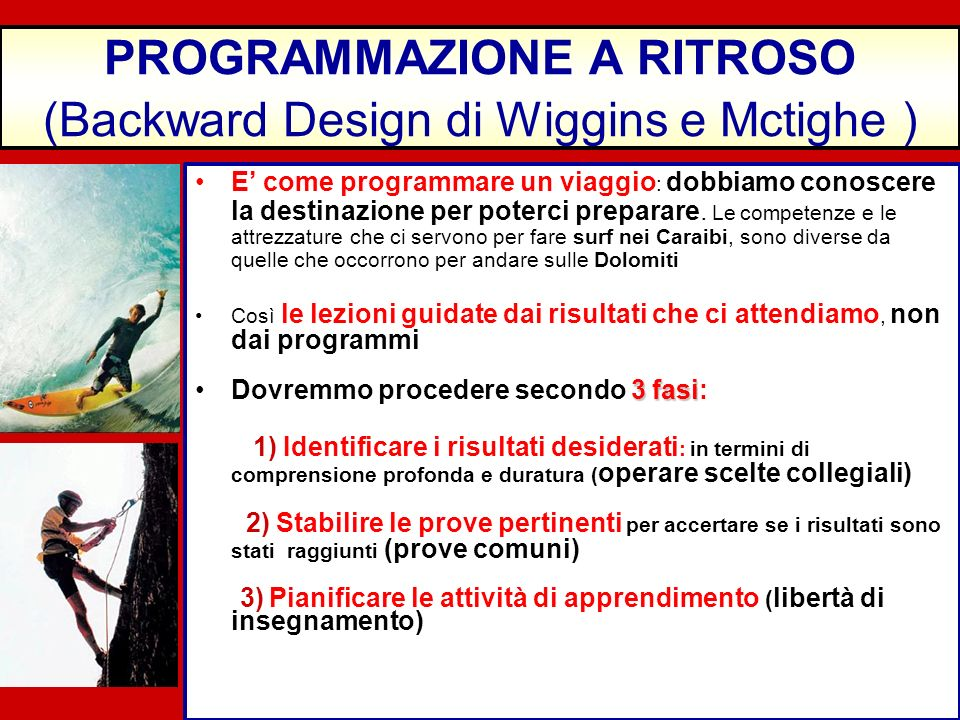 PROGRAMMAZIONE A RITROSO (Backward Design di Wiggins e Mctighe )