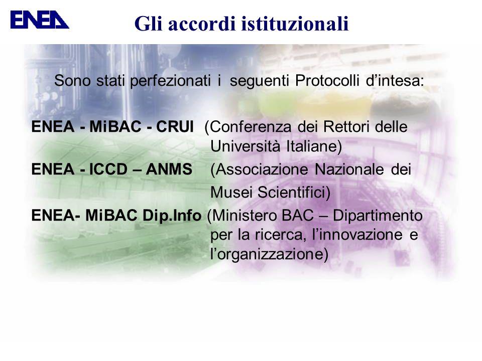 Gli accordi istituzionali