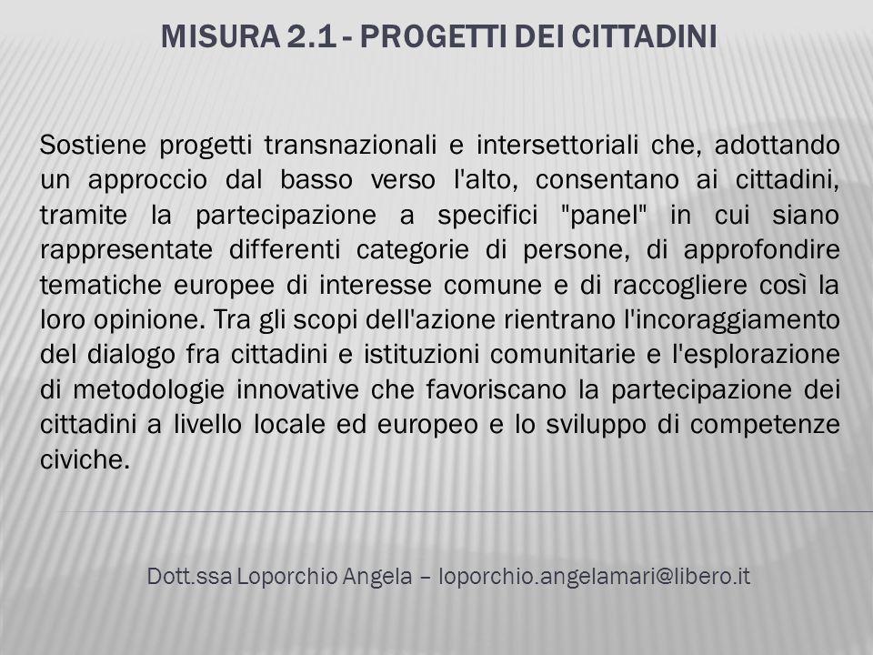 Misura 2.1 - Progetti dei cittadini